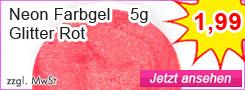 Farbgel Neon Rot Glitter günstig kaufen
